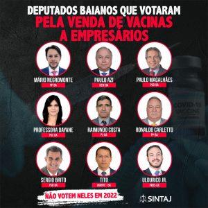 Deputados baianos que votaram pela venda de vacinas para empresários