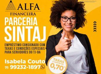 Novo convênio do SINTAJ: Alfa Financeira